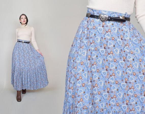 Vintage Heart Print Maxi Skirt | Western Style Maxi Skirt XL