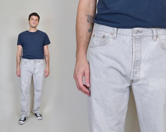 Vintage Light Grey Levi's 501 Jeans | Vintage 90's Levi's 501s 36x30