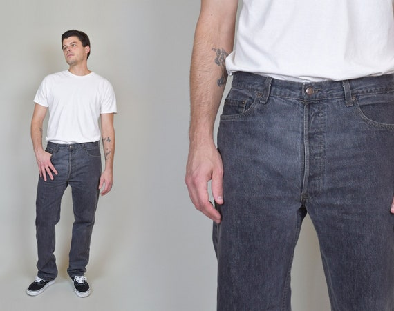 1980's Black Levi's 501 Jeans | Vintage Black Levi's 501s 36x32
