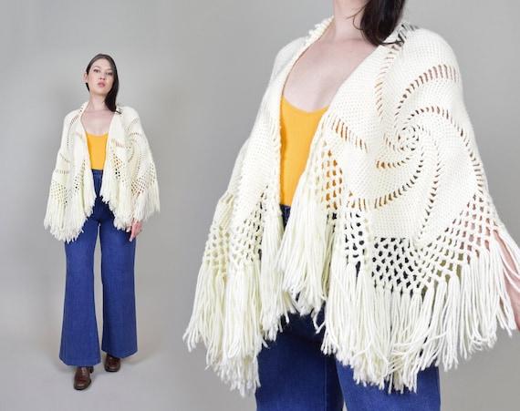 1970's Fringe Knit Shawl   Vintage Swirl Fringe Shawl