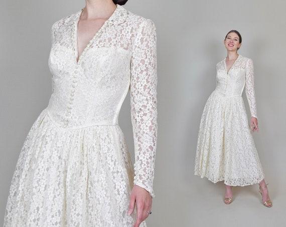 1950's Emma Domb Wedding Dress | 1950's Tea Length Wedding Dress | 1950s Lace Wedding Dress