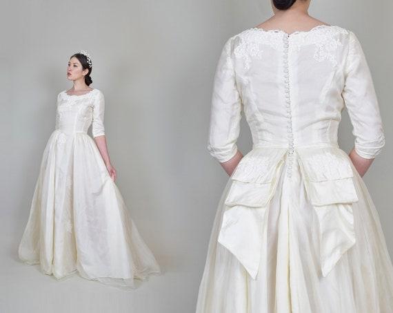 1950's Ivory Silk Organza Wedding Dress | 1950's Button Back Wedding Dress with Bustle