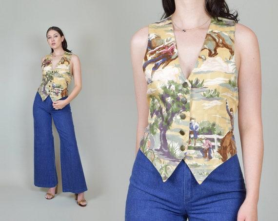 Vintage Desert Print Vest | Vintage Western Wear Vest