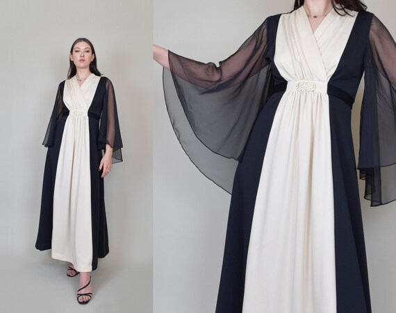 1970's Two Tone Maxi Dress | 1970's Angel Sleeve Maxi Dress