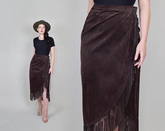 Leather Fringe Wrap Skirt | Western Suede Wrap Skirt