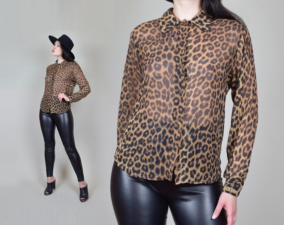 90's Sheer Leopard Print Shirt   Vintage Leopard Print Shirt