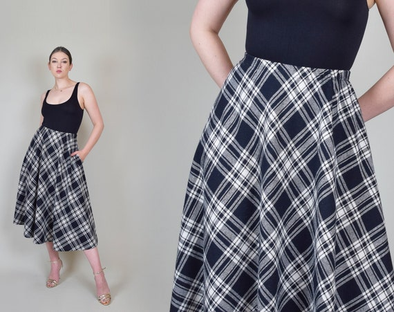 Vintage Plaid Circle Skirt | 80's Plaid Skirt | Plaid Holiday Skirt