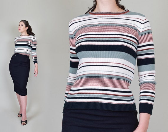 1970's Striped Sweater | Vintage Striped Sweater | Fitted Striped Sweater