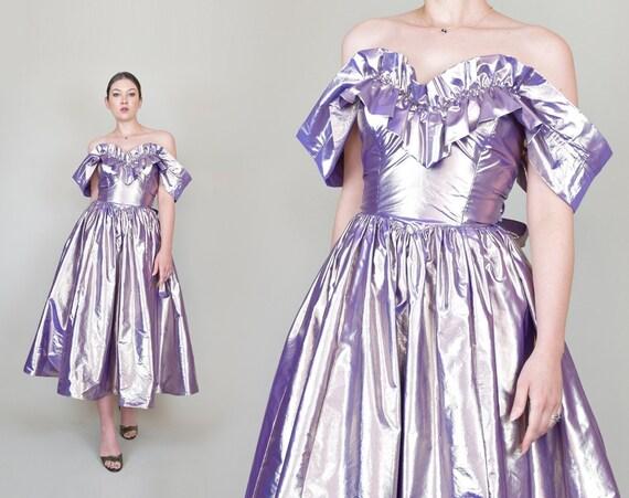 80's Gunne Sax Metallic Party Dress | Vintage Gunne Sax Dress | Metallic Gunne Sax Dress