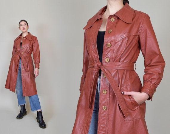 1970's Leather Trench Coat | Belted Leather Trench | Rust Leather Trench Coat
