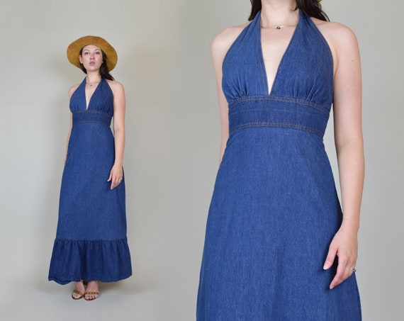 1970's Denim Halter Maxi Dress | Vintage Denim Halter Dress