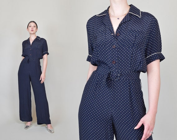 Vintage Polka Dot Jumpsuit | Vintage Pajama Jumpsuit | 80's Does 40's Jumpsuit