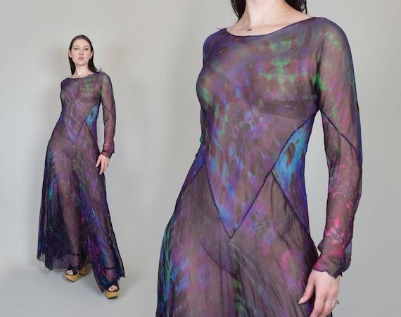 Vintage Tie Dyed Silk Dress | Cosmic Tye Dye Dress