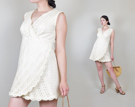 1960's Ivory Crochet Lace Mini Dress | 1960s Joseph Magnin Mini Dress | 60's Crochet Lace Mini Dress