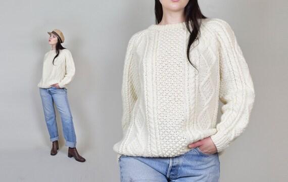 Vintage Wool Fisherman Sweater | Fisherman Wool Sweater
