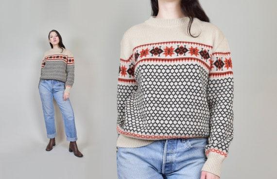 1970's Honeycomb Ski Sweater | Vintage Snowflake Ski Sweater