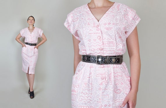 1980's Printed Shirtdress | 80s Does 50s Pencil Dress