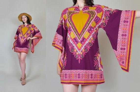 1970's Angel Sleeve Dashiki Dress | 70's Angel Sleeve Mini Dress