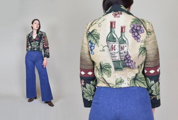 Vintage Wine Print Tapestry Jacket | Winery Tapestry Jacket