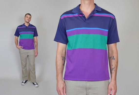 1980's Colorblock Polo | Vintage Striped Polo Shirt