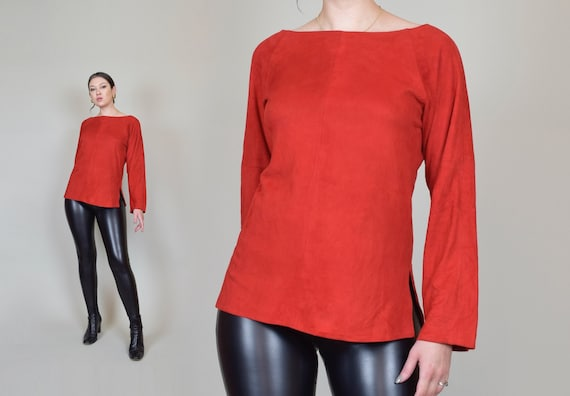 1960's Red Leather Shirt | Vintage Suede Leather Top