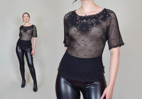 Vintage Black Crochet Knit Top | Black Crochet Net Blouse