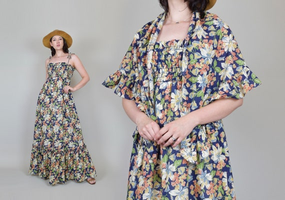 1970's Floral Maxi Dress with Shawl | 1960s Dress and Shawl Set