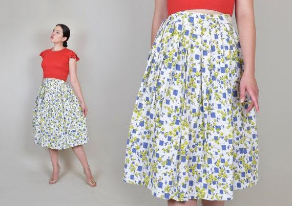 1950's Chartreuse Floral Skirt | 1950's Floral Summer Skirt