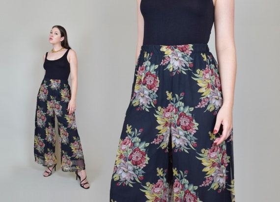 Vintage Sheer Floral Pants | Sheer Floral Wide Leg Pants