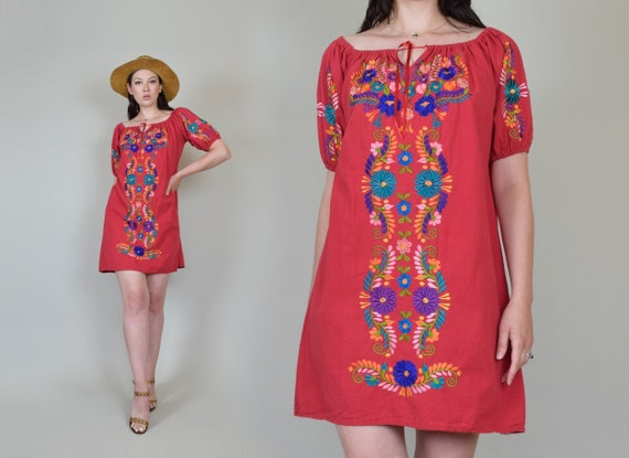 Vintage Embroidered Peasant Dress | Embroidered Mexican Dress