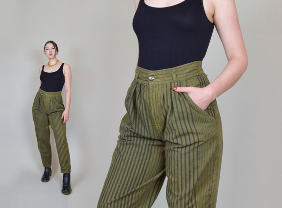1980's Striped Pants | 80's Taper Leg Pants