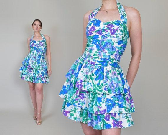 Floral Print Halter Dress | 90's Smocked Sundress