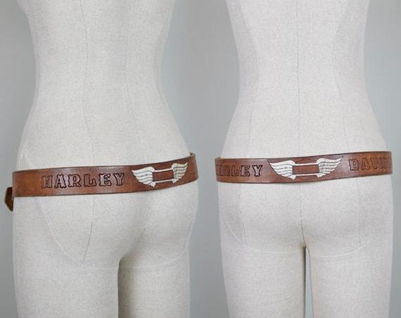 1970's Harley Davidson Tooled Belt with Wings vintage Leather Belt with Patina vintage Harley Leather Belt Medium Large