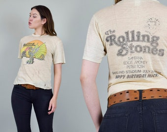 d00a19a077a74 Rolling Stones 1978 Day on the Green T-Shirt 70 s HAPPY BIRTHDAY MICK  Rolling Stones Dragon Shirt Rare 70s Rolling Stones Shirt Stones Tee