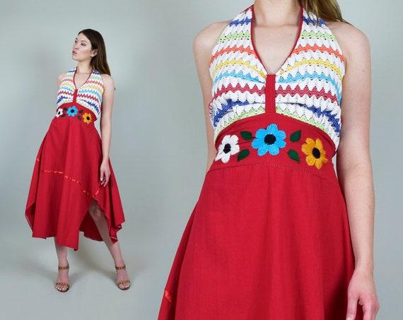 1970's Floral Embroidered Dress l 1970's Halter Sundress