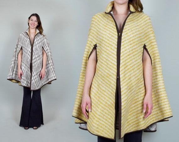 1950's Reversible Plaid Poncho Cape 50's Wool Blanket Cape
