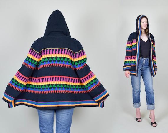 1970's Hooded Wrap Sweater | Rainbow Geometric Knit Sweater