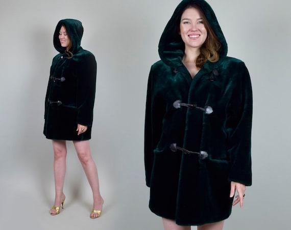1960's Green Faux Fur Coat with Hood 60's Hooded Faux Fur Coat vintage Faux Fur Jacket retro mod 60s Toggle Coat Pea Coat Emerald Green