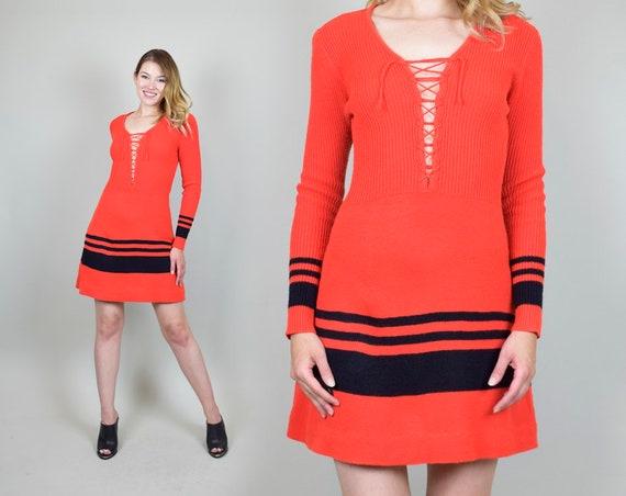 1970's Lace Up Knit Sweater Dress