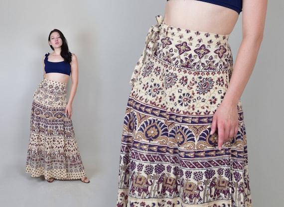 1970's Indian Block Print Wrap Skirt | 1970s India