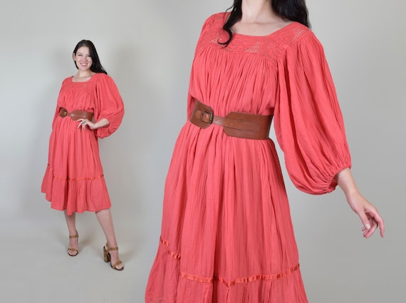 Vintage Crochet Lace Gauze Dress | 1970s Cotton Cr
