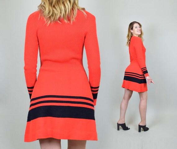 1970's Lace Up Knit Sweater Dress - image 9