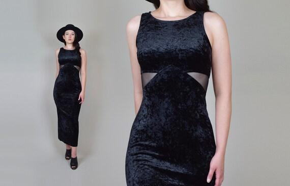 90's Mesh Cut Out Maxi Dress | 90's Black Cut Out
