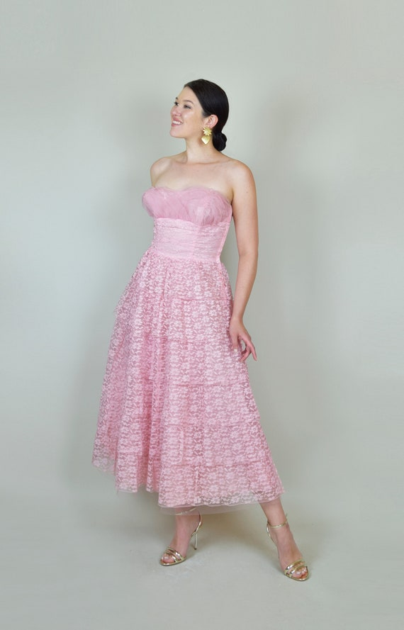 1950's Pink Lace Party Dress | 1950s Pink Lace Pr… - image 8