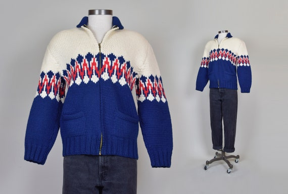 1950s Fair Isle Cowichan Sweater   1950s Printed K