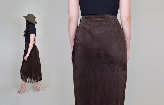 Leather Fringe Wrap Skirt   Western Suede Wrap Sk… - image 7