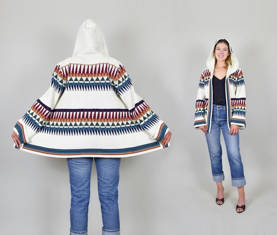 1970's Rainbow Hooded Knit Sweater