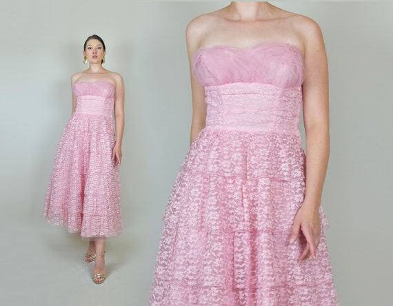 1950's Pink Lace Party Dress | 1950s Pink Lace Pr… - image 3