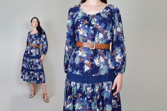 1970's Dark Floral Peasant Dress | 1970's Fall Flo