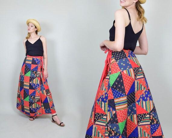 1970s Quilt Patchwork Skirt | Vintage Quilt Patch… - image 4
